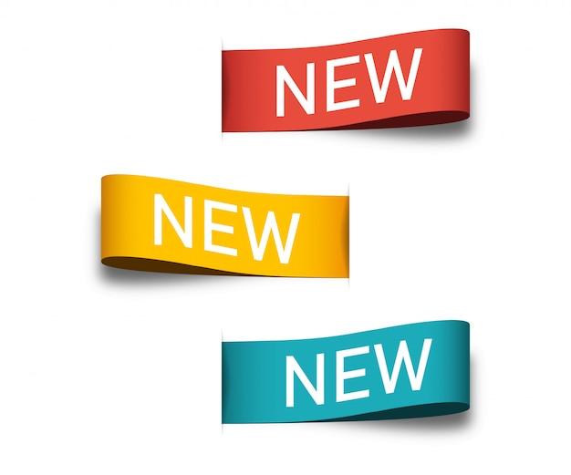 Nowe tagi lub etykiety dla twojego projektu. kolorowe wstążki banery