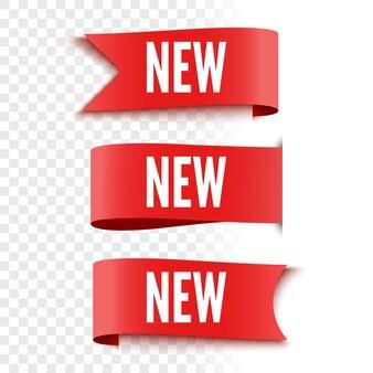 Nowe tagi sprzedaży na przezroczystym tle czerwone etykiety wstążki ilustracja wektorowa
