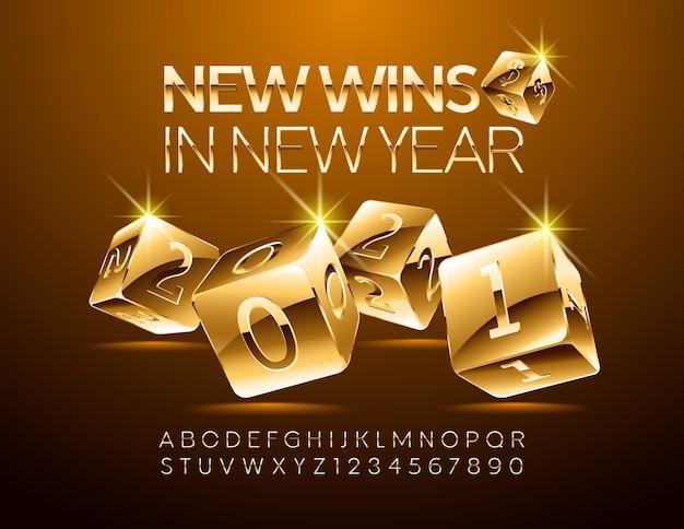 Nowe wygrane w nowym roku 2021 grając w kości. elegancki styl czcionki. zestaw liter alfabetu i cyfr.