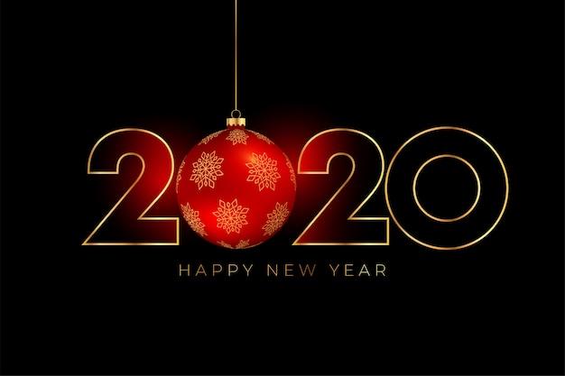 Nowego roku 2020 tło z czerwoną boże narodzenie piłką