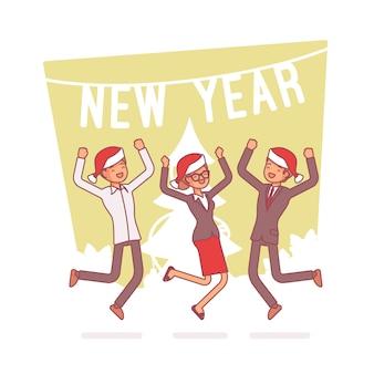Nowego roku biurowy przyjęcie, kreskowej sztuki ilustracja