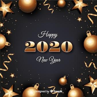 Nowego roku pojęcie z złotym tłem