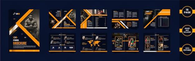 Nowoczesna 16-stronicowa broszura fitness z geometrycznymi kształtami i danymi w kolorze żółtym i niebieskim.