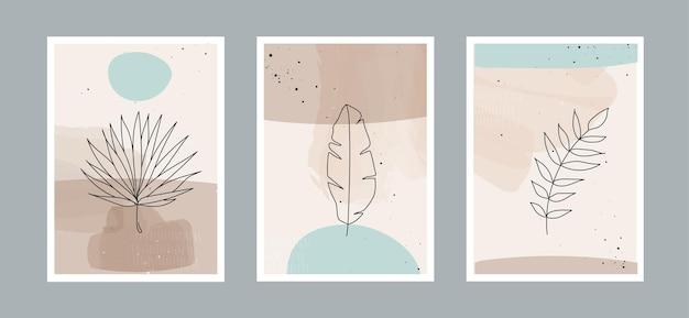 Nowoczesna abstrakcyjna linia pozostawia w liniach i tle artystycznym o różnych kształtach do dekoracji ścian
