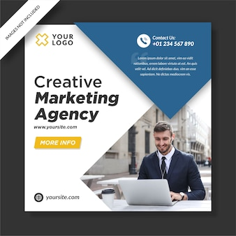 Nowoczesna agencja marketingowa instagram post banner projektowanie mediów społecznościowych