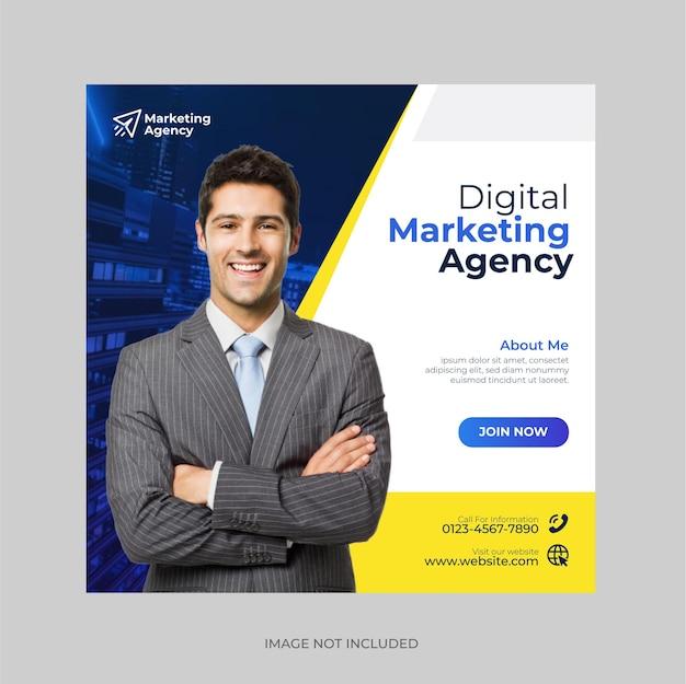 Nowoczesna agencja marketingu cyfrowego post w mediach społecznościowych i szablon banera internetowego