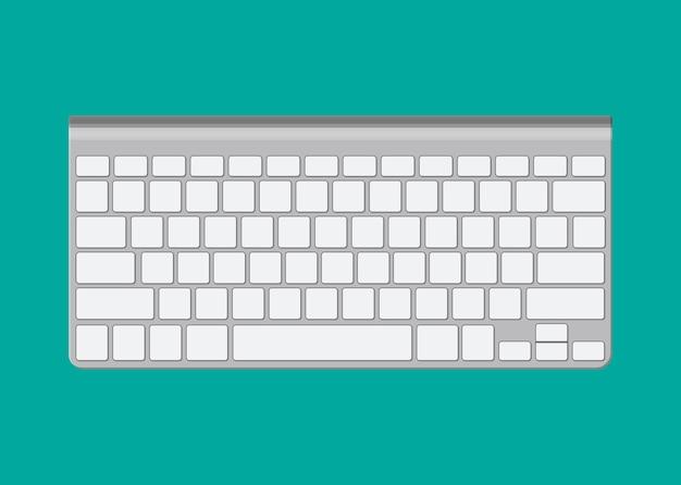 Nowoczesna aluminiowa klawiatura komputerowa.