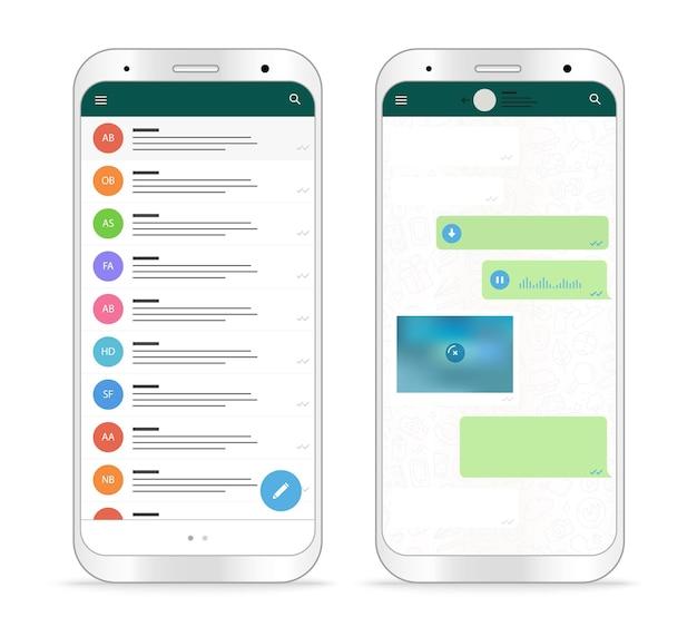 Nowoczesna aplikacja komunikatora na smartfony. makieta wektorowa