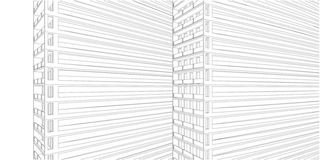 Nowoczesna architektura szkieletowa, abstrakcyjne tło architektoniczne, ilustracja 3d