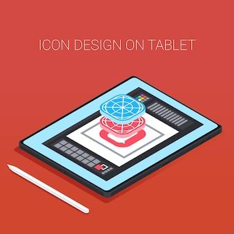 Nowoczesna Bezramowa 3d Izometryczny Tablet Z Piórem. Premium Wektorów