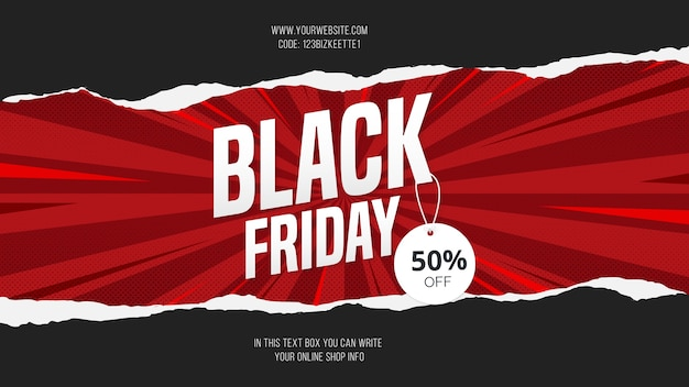 Nowoczesna black friday sale z papercut banner background