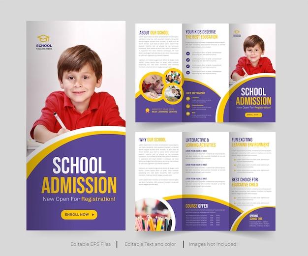 Nowoczesna broszura wstępna do szkoły broszura składana lub wstęp do kolażu projekt broszury składanej trójdzielnej