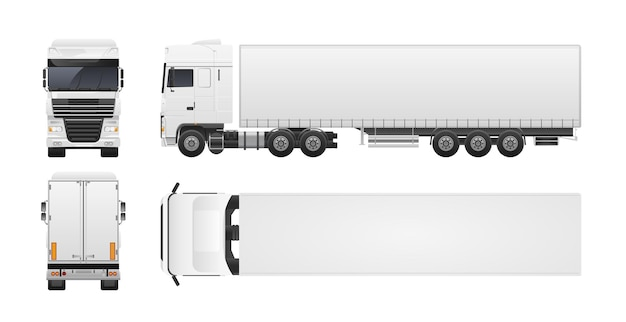 Nowoczesna ciężarówka lub ciężarówka na białym tle