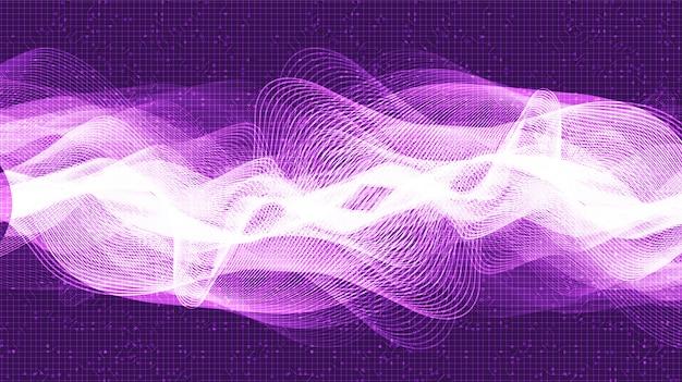 Nowoczesna cyfrowa fala dźwiękowa na tle ultra violet, technologia i koncepcja fali trzęsienia ziemi