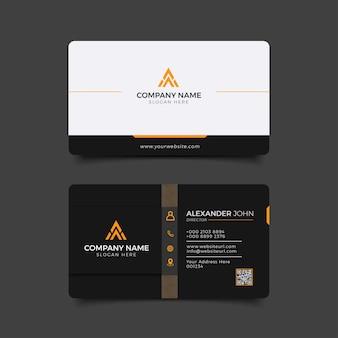 Nowoczesna czarno-pomarańczowa wizytówka elegancka professional