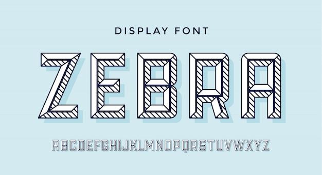 Nowoczesna czcionka. alfabet biały nowoczesnej linii