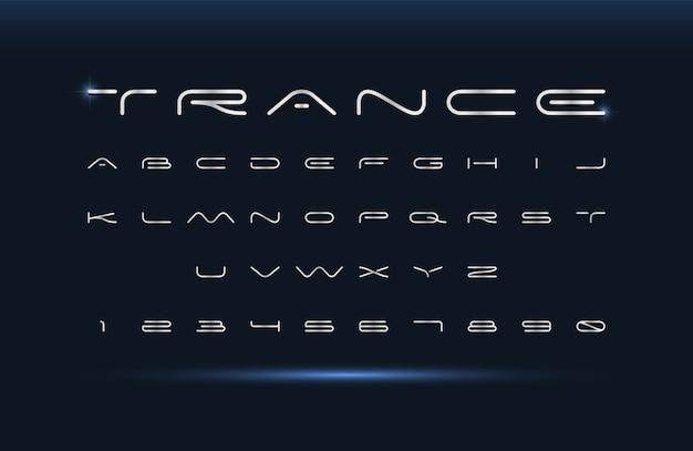 Nowoczesna czcionka. alfabet futurystyczny wektor. szerokie abstrakcyjne litery