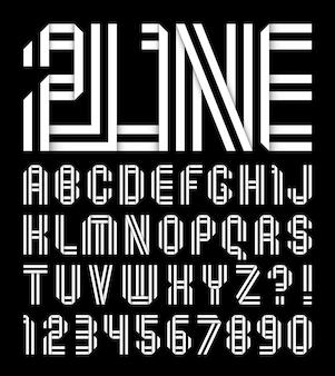 Nowoczesna czcionka, alfabet złożony z liter złożonych z dwóch białych taśm papierowych
