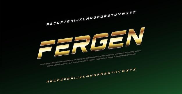 Nowoczesna czcionka alfabetu kursywa typografia czcionki w stylu miejskim dla technologii cyfrowej logo filmu sportowego