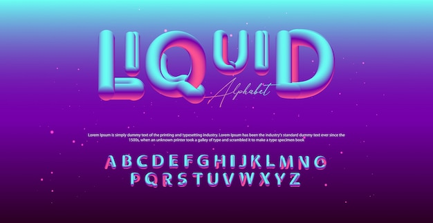 Nowoczesna czcionka alfabetu płynnego. czcionki w stylu typografii