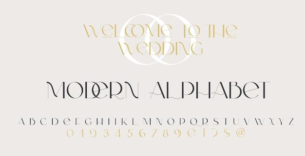 Nowoczesna czcionka bezszeryfowa elegancka klasyczna minimalna czcionka ślubna o wysokim kontraście