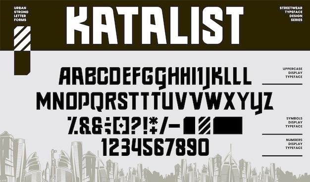 Nowoczesna czcionka i liczba liter alfabetu streetwear