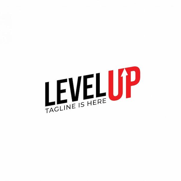 Nowoczesna czcionka level up typografia inspiracja projektowa logo