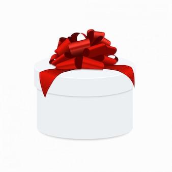 Nowoczesna czerwona kokarda z białym pudełkiem prezentowym