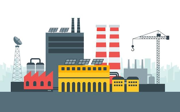 Nowoczesna ekologiczna fabryka energii z paneli słonecznych. krajobraz miasta, koncepcja ekologiczna. ilustracja w stylu, szablon.