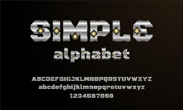 Nowoczesna elegancka czcionka alfabetu. typografia czcionki w stylu miejskim dla technologii, cyfrowych, projektowania logo filmu