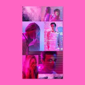 Nowoczesna estetyczna różowa tapeta mobilna z kolażem