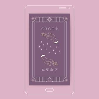 Nowoczesna estetyczna tapeta mobilna z ilustracją czarownic