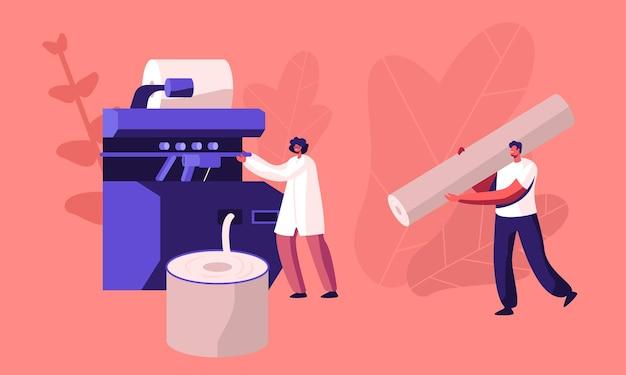 Nowoczesna fabryka tekstyliów działa. zautomatyzowana maszyna do produkcji przędzy. płaskie ilustracja kreskówka