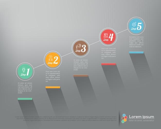 Nowoczesna firma krok po kroku opcje infografiki