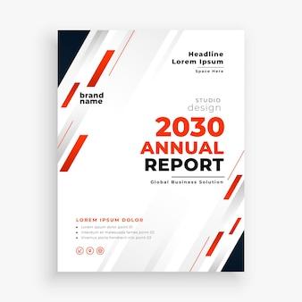 Nowoczesna firma roczny raport biznesowy czerwony szablon