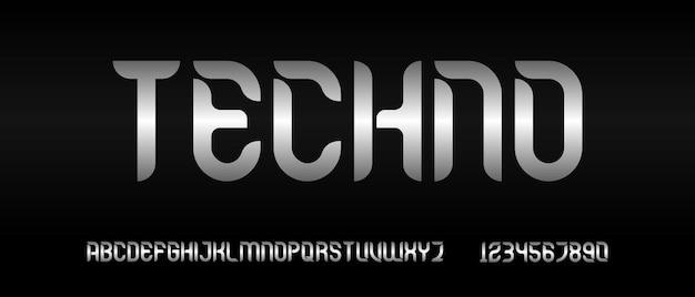 Nowoczesna futurystyczna czcionka alfabetu. czcionka w stylu miejskim typografii
