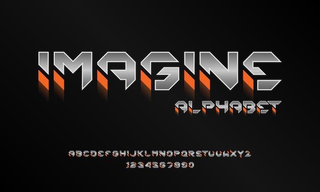 Nowoczesna futurystyczna czcionka alfabetu. typografia czcionki w stylu miejskim dla technologii, cyfrowych, projektowania logo filmu