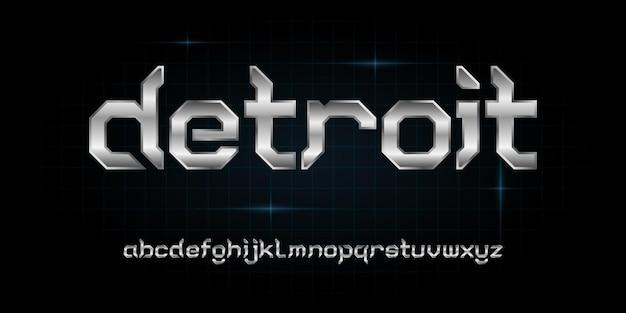 Nowoczesna futurystyczna czcionka alfabetu. typografia czcionki w stylu miejskim dla technologii, technologii cyfrowej, filmu, projektowania logo