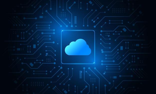 Nowoczesna, futurystyczna technologia chmury, przechowywanie online