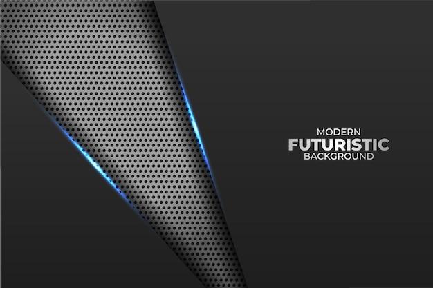 Nowoczesna futurystyczna technologia ukośna minimalistyczna geometryczna poświata w kolorze niebieskim z metalicznym tłem