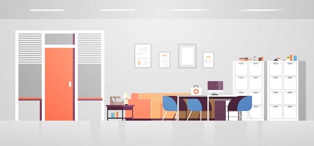 Nowoczesna gabinet lekarski z meblami pusty bez ludzi szpital biuro pokój wnętrze płaskie poziome