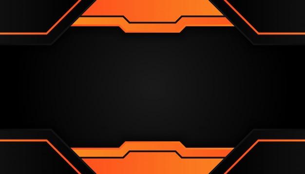 Nowoczesna geometria 3d kształtuje czarne linie z pomarańczowymi granicami na ciemnym tle