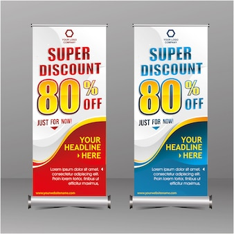 Nowoczesna geometria rollup stojąca szablon banner super zniżka specjalna oferta sprzedaży