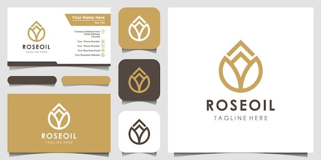 Nowoczesna grafika liniowa kwiatowego znaku lotosu w połączeniu z kroplami olejku eterycznego wygląda minimalistycznie i czysto. projekt logo i wizytówki