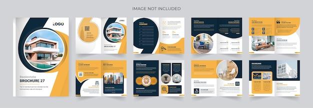 Nowoczesna i kreatywna broszura biznesowa na temat nieruchomości 16 stron kolorowy układ graficzny