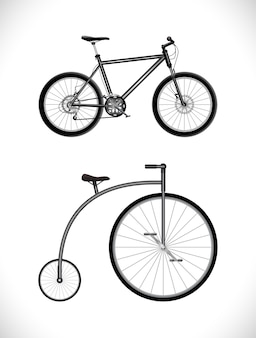 Nowoczesna i stara ikona rowerów