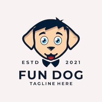 Nowoczesna i zabawna głowa psa logo vector