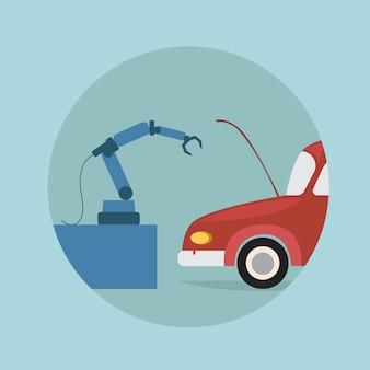 Nowoczesna ikona samochodu naprawy ramienia robota, technologia mechanizmu futurystycznej sztucznej inteligencji