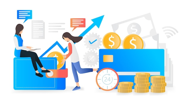 Nowoczesna ilustracja bankowości i finansów w stylu płaskim