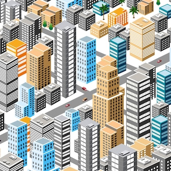 Nowoczesna ilustracja do projektowania gry i biznesu kształt tła izometryczne miasto z miejskiej architektury wektorowej budynku.